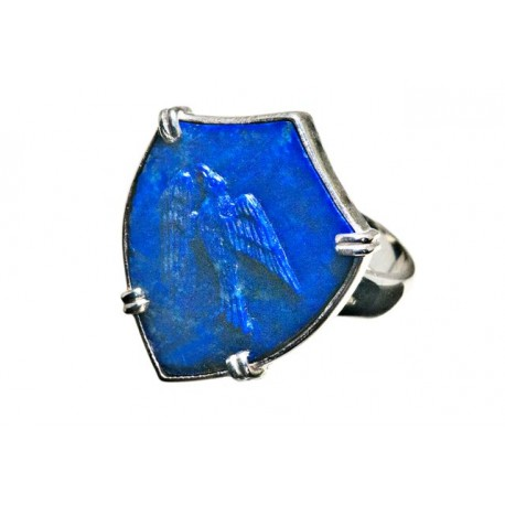 Hawk Lapis Ring Shield Shape man's