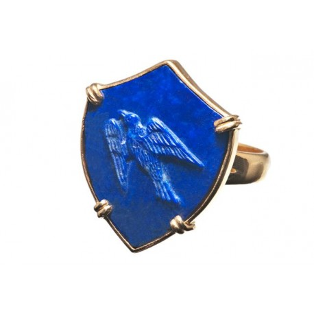 Lapis Sheild Ring Bird Crest