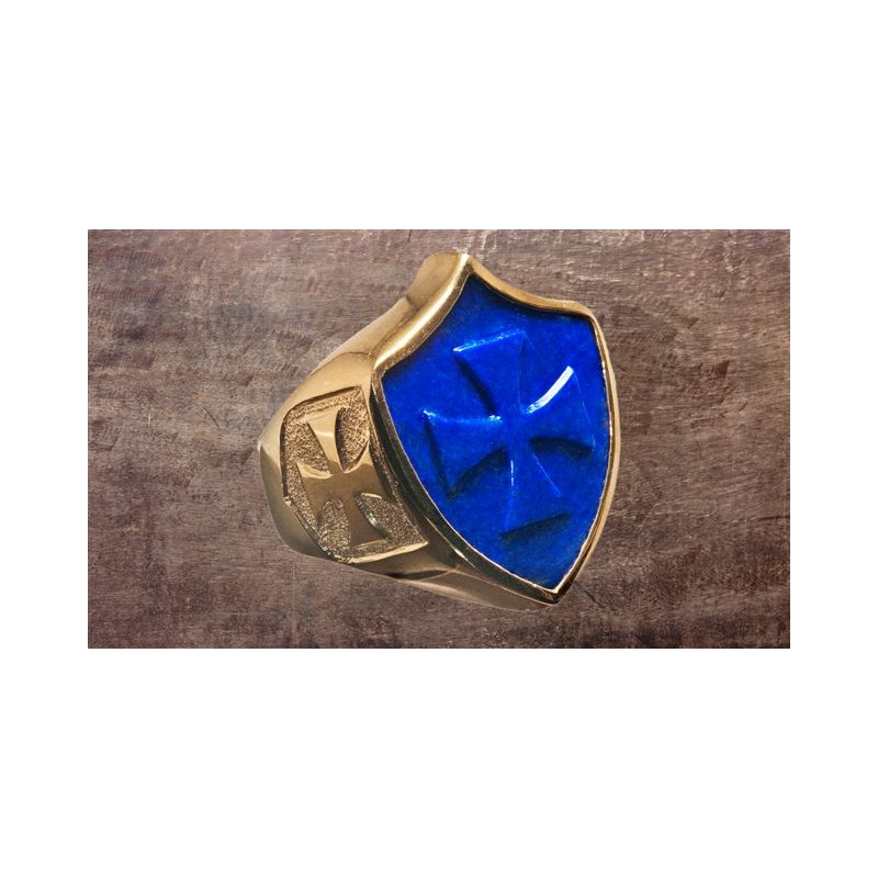 Lapis Ring Templar Cross Shield Regnas Jewelry