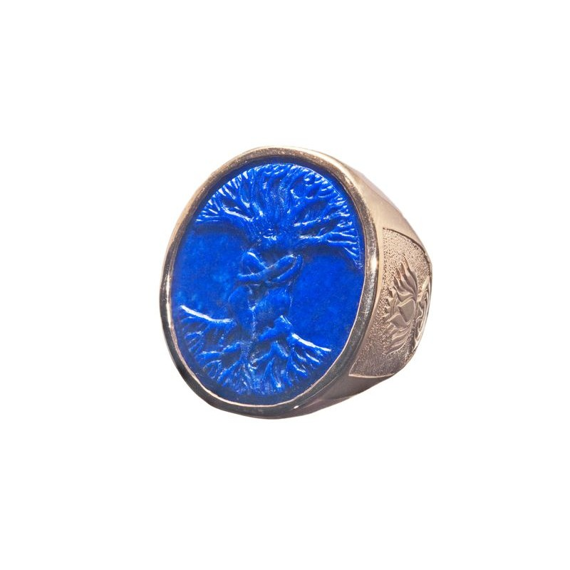 Lapis Ring Tree Of Life Lotus Flower Gold Plated Sterling