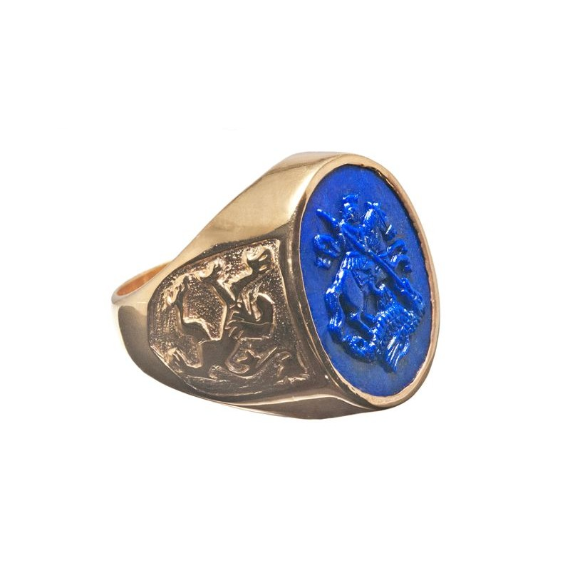 St George Ring Lapis Handmade Scottish Lion Regnas Jewelry