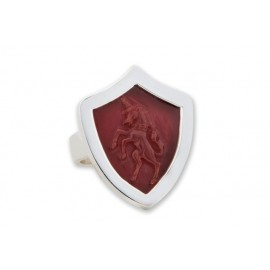 Unicorn Ring Heraldic Shield Red Agate Handmade Gemstone Silver 925