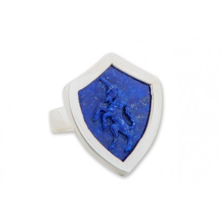 Unicorn Ring Heraldic Lapis Genuine Gemstone silver