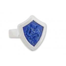 Wolf Ring Handmade Carved Lapis Heraldic Shield Sterling Silver 925