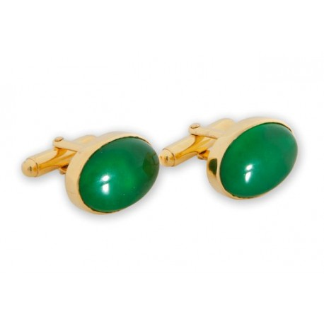 Korean Jade Cufflinks Oval Swivels 925
