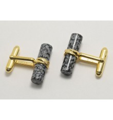 Snowflake Obsidian Gold Plated Silver Cufflinks