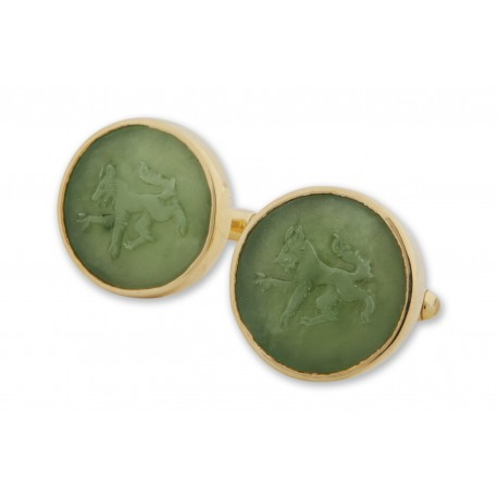 Canada Jade Wolf Cufflinks Hand Carved Gold Plated Sterling Silver 925