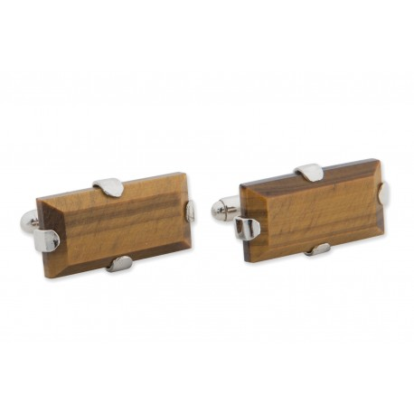 Tiger Eye Cufflinks Gothic Rectangular Sterling Silver 925