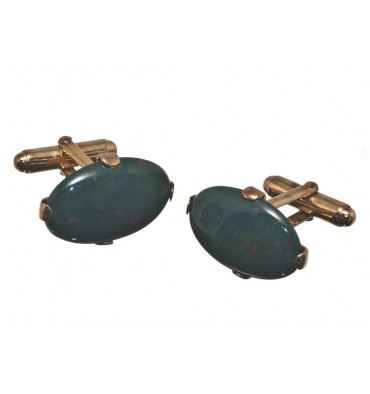 Bloodstone Gothic Medium Oval Gold Plated Silver Cufflinks