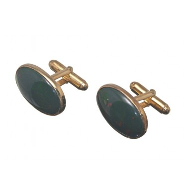 Bloodstone Medium Oval Swivel Cufflinks Gold Plated Silver