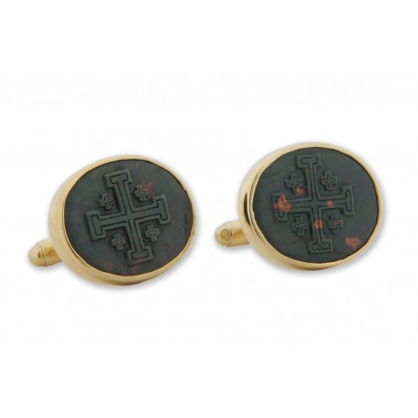 Bloodstone Cufflinks Jerusalem Cross Handmade Carved Gold Plated Sterling Silver 925