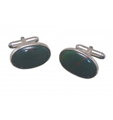 Bloodstone Medium Oval Swivel Cuff Links Sterling Silver