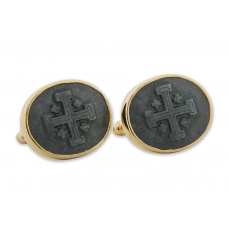 Dark Green Jade Cufflinks Jerusalem Cross Handmade Carved Gold Plated Sterling Silver 925