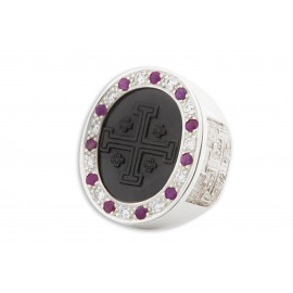 Jerusalem Cross Ring Black Onyx, Rubies & Zircons Genuine Gemstones Very Large Heraldic