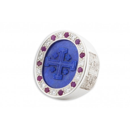 Jerusalem Cross Ring Lapis, Rubies & Zircons Genuine Gemstones Very Large Heraldic