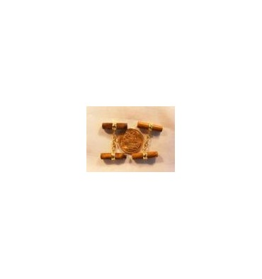 Tiger's Eye Solid Gold Double Cylinder Cuff Links