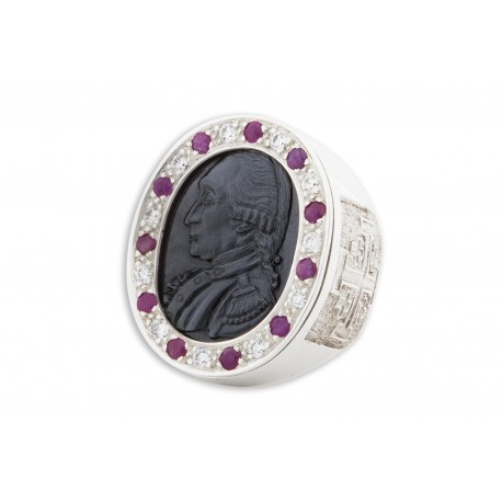 George Washington Ring Black Onyx, Rubies & Zircons Genuine Gemstones Very Large Heraldic