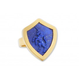 Lapis Unicorn Ring Hand Craved Genuine Gemstone Shield Shape Gold Plated Sterling Silver 925