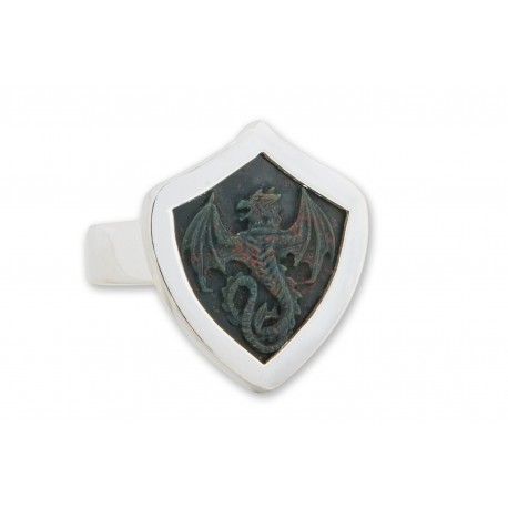 Bloodstone Ring Welsh Wyvern Sculpted Shield Shape