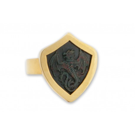 Celtic Ring Bloodstone Dragon Hand Carved Shield Shape
