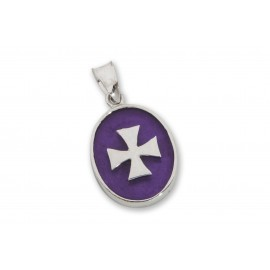 Cross Pendant Synthetic Amethyst Sterling Silver 925 Templar