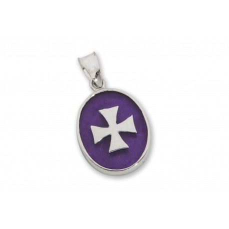Templar Cross Pendant Synthetic Amethyst Sterling Silver 925