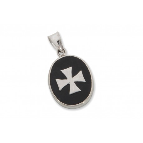 Templar Cross Pendant Black Onyx Sterling Silver 925
