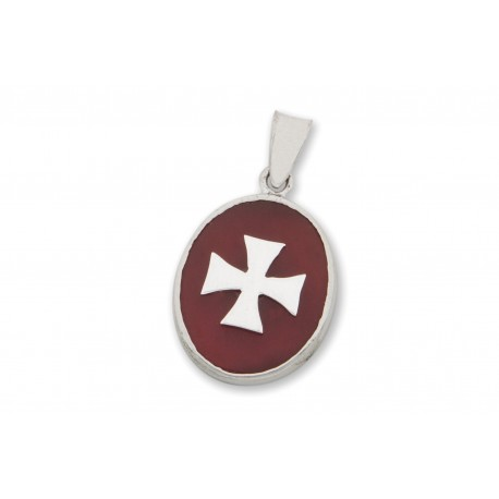 Templar Cross Pendant Red Agate Sterling Silver 925