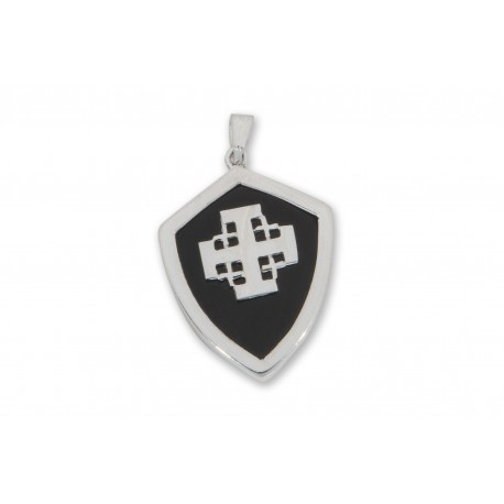 Black Onyx Pendant Heraldic Jerusalem Cross Over Laid Sterling Silver 925