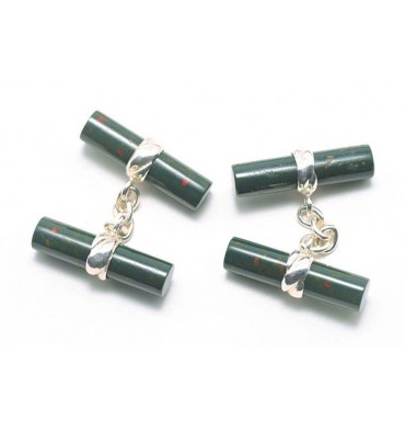 Bloodstone Imperial Double Sterling Silver Cufflinks