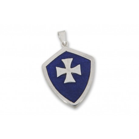 Lapis Pendant Heraldic Templar Cross Over Laid Sterling Silver 925