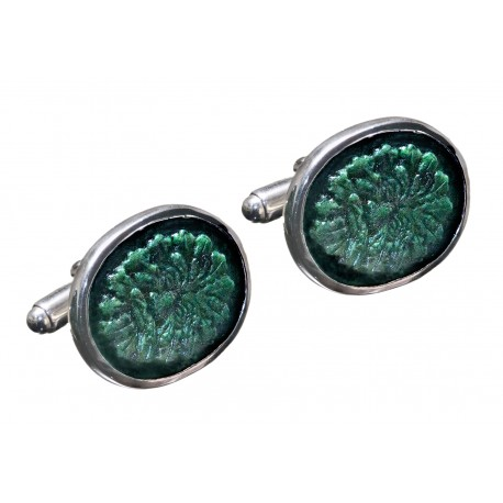 Jade Greenman Cufflinks Hand Carved Genuine Gemstone Sterling Silver 925