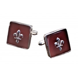 Fleur De Lys Red Agate Cufflinks Handmade Genuine Gemstone Sterling Silver 925