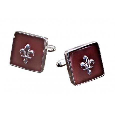 Fleur De Lys Cufflinks Red Agate Genuine Gemstone Sterling Silver 925