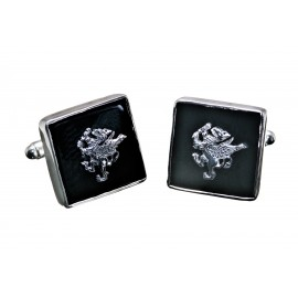 Griffon Black Onyx Cufflinks Handmade Genuine Gemstone Sterling Silver 925
