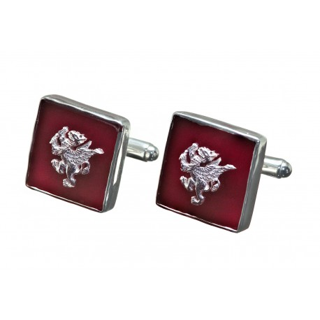 Griffon Cufflinks Red Agate Genuine Gemstone Sterling Silver 925