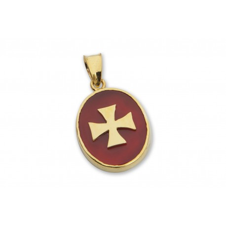 Templar Pendant Red Agate Genuine Gemstone Gold Plated Silver Cross 925