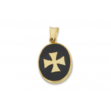 Templar Pendant Black Onyx Genuine Gemstone Gold Plated Silver Cross 925