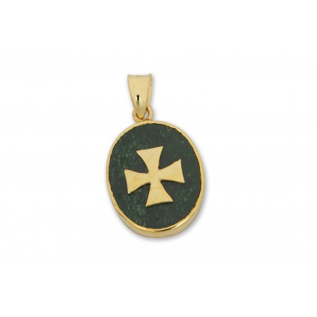 Templar Pendant Jade Albite Genuine Gemstone Gold Plated Silver Cross 925