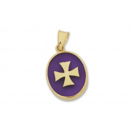 Templar Pendant Synthetic Amethyst Gold Plated Silver Cross 925