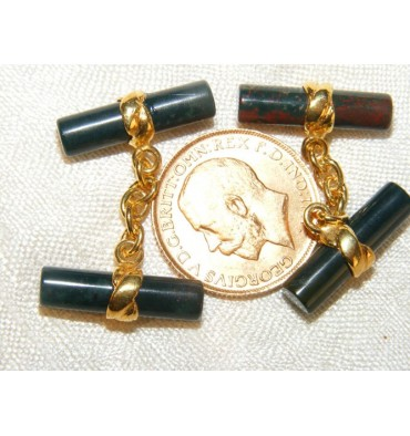Bloodstone Solid Gold Double Bar Cuff Links
