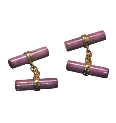 Rhodonite Solid Gold Double Cylinder Imperial Cufflinks