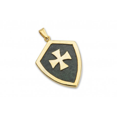Jade Pendant Heraldic Templar Cross Genuine Gemstone Gold Plated Sterling Silver 925