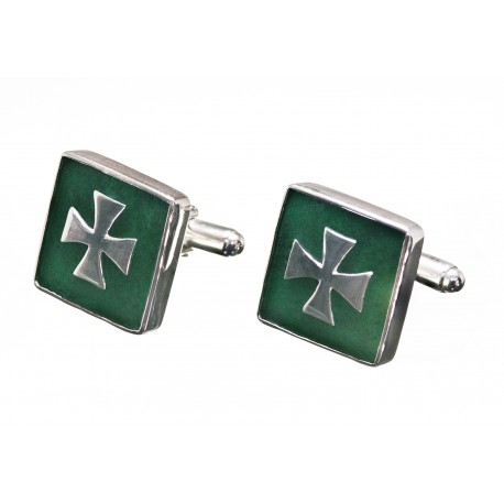 Jade Cufflinks Genuine Gemstone Sterling Silver Templar Cross 925