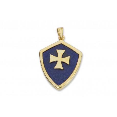Lapis Pendant Heraldic Templar Cross Genuine Gemstone Gold Plated Sterling Silver 925