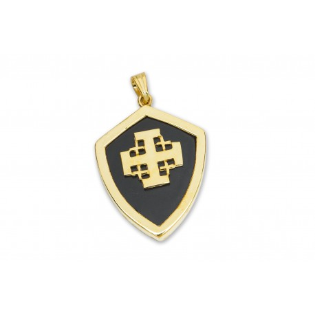Jerusalem Cross Pendant Black Onyx Genuine Gemstone Gold Plated Sterling Silver 925