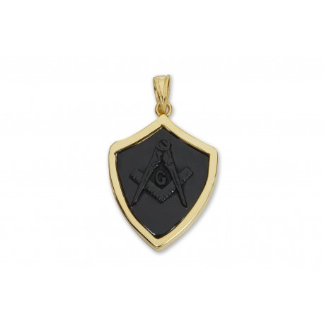 Masonic Pendant Black Onyx Hand Carved Gold Plated Sterling Silver 925