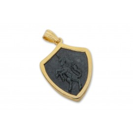 Black Onyx Pendant Unicorn Hand Carved Gold Plated Sterling Silver 925