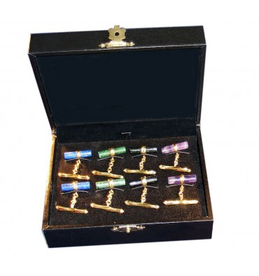 Chain & Shaft Cylinder Cufflinks Gift Pack Of Four Pairs