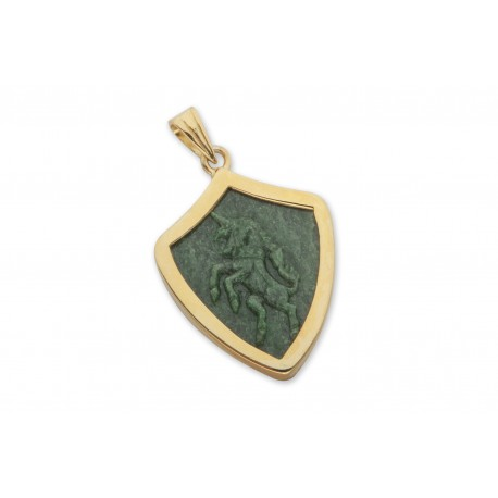 Jade Pendant Unicorn Hand Carved Gold Plated Sterling Silver 925